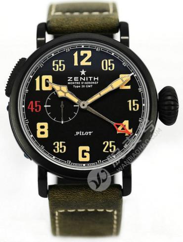 真力时飞行员系列GMT_1903黑色表盘