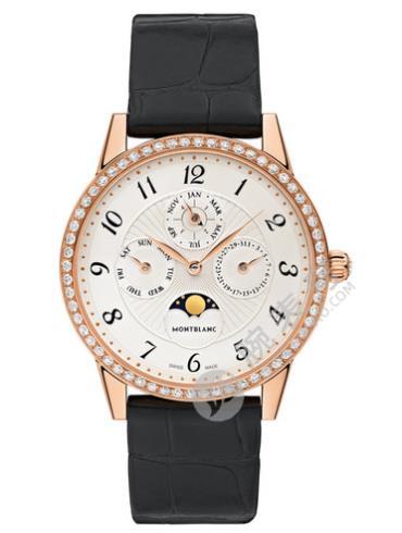 万宝龙宝曦系列万年历珠宝腕表U0112503银色表底盖