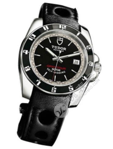 帝舵Grantour系列20050n-ls黑色真皮表带黑色表底盖