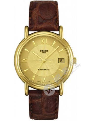天梭T-Gold卡森系列T71.3.464.24金色表盘