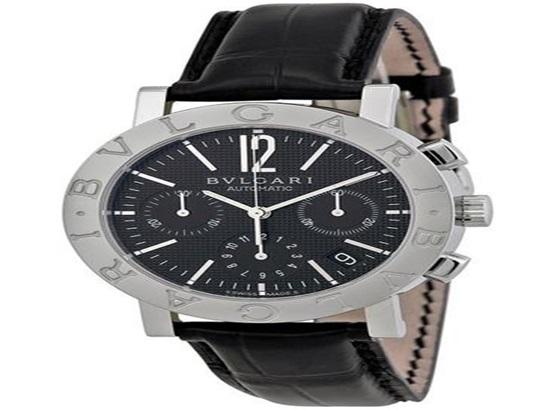 宝格丽黑色表盘不锈钢男士手表
